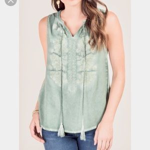 Francesca's Embroidered Pastel Blouse Size XS